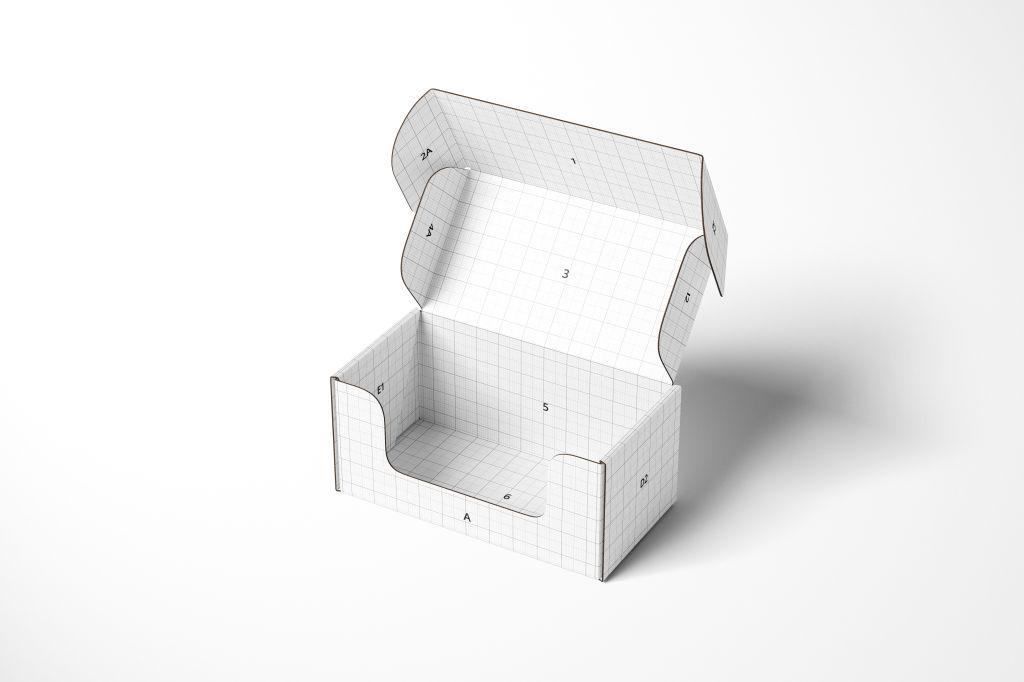 纸盒飞机盒PSD包装样机Front Tuck Mailer Box Mockup