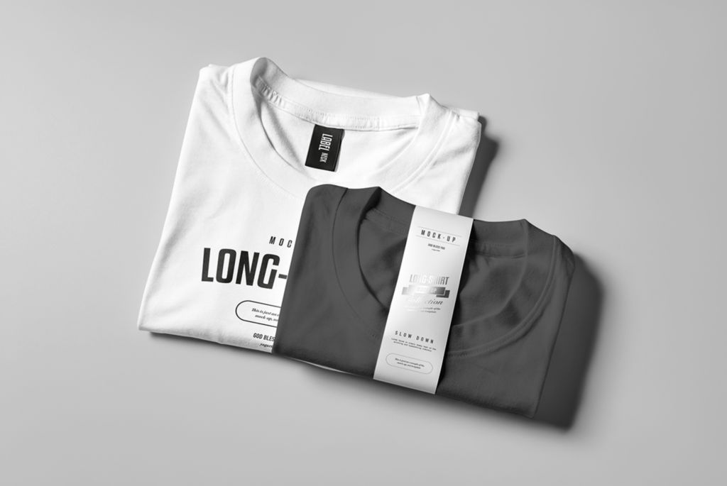 长袖T恤吊牌卫衣PSD样机贴图Source Long Shirt Mockup