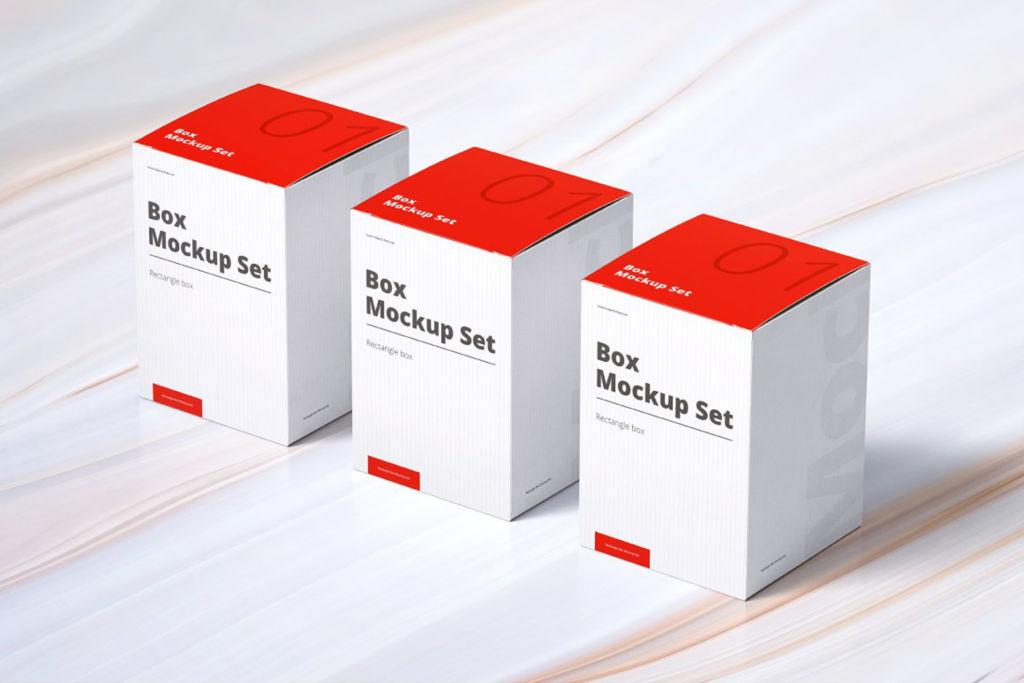 方形纸盒药品盒PSD包装样机贴图Box Mockup Set