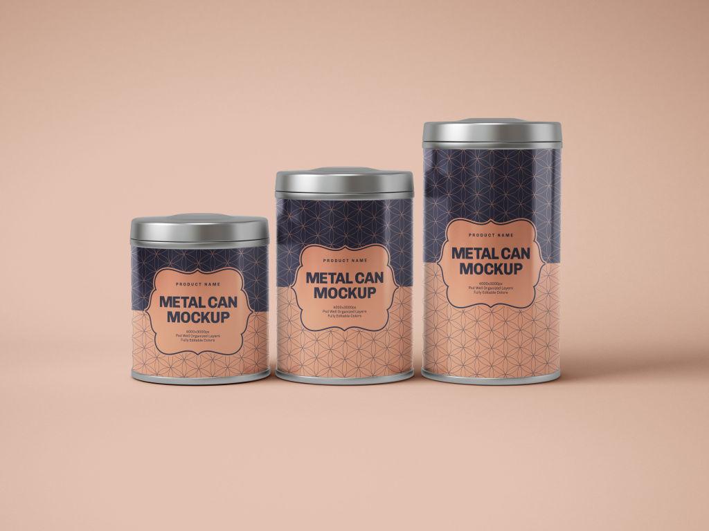 零食茶叶罐PSD包装样机贴图Glossy Round Tin Can Box Mockup