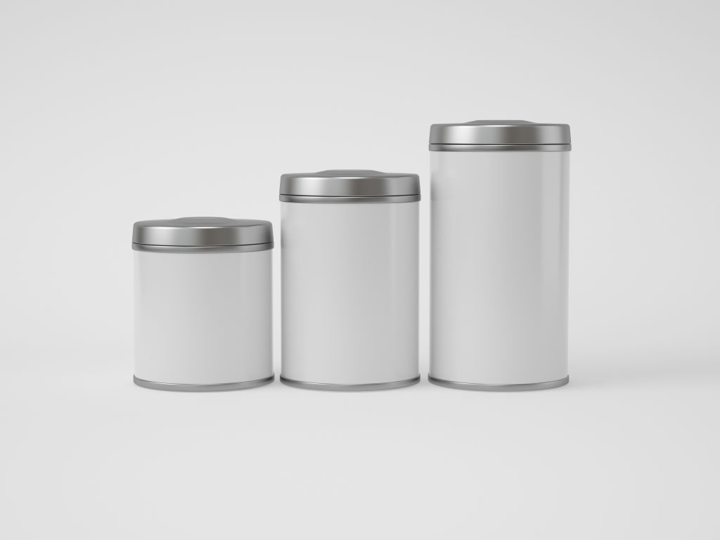 零食茶叶罐PSD包装样机贴图Glossy Round Tin Can Box Mockup