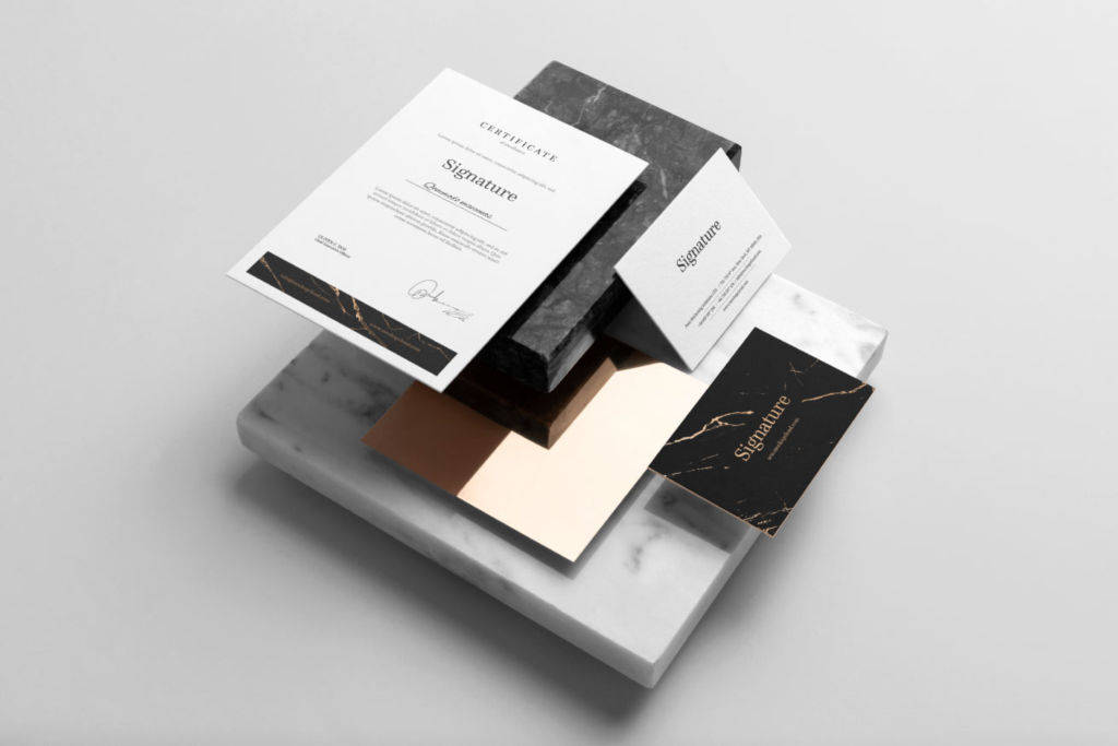 时尚企业办公文具品牌VI视觉PSD样机贴图模版signature branding mockup
