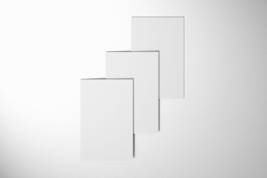 A4卡片信纸PSD样机贴图模版Flat Cards Mockup Set