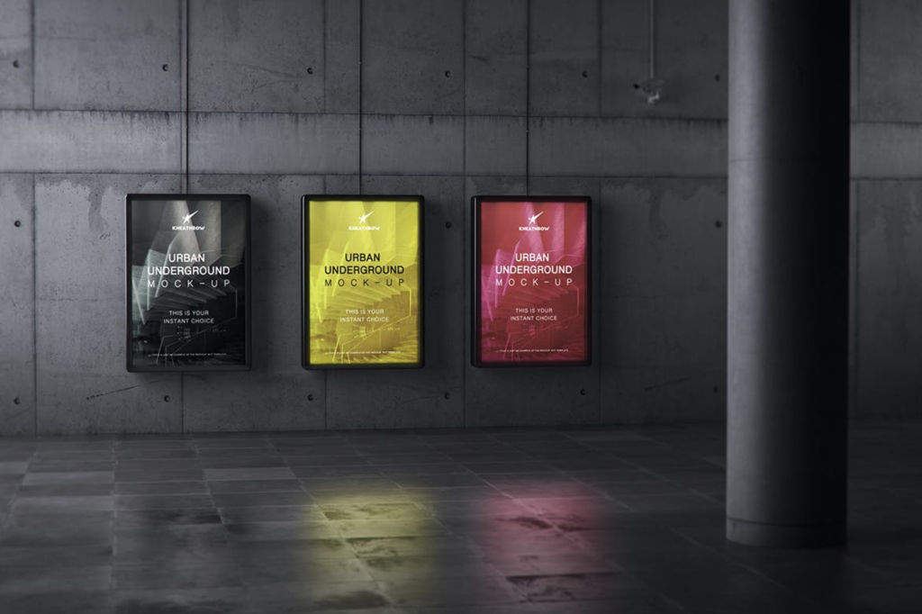 户外地铁灯箱海报广告牌PSD分层样机贴图-urban underground lightbox billboard mockups