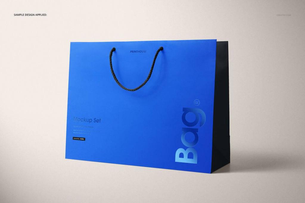 时尚多角度横版手提袋PSD分层样机贴图模版Eurotote Bag 2 Mockup Set