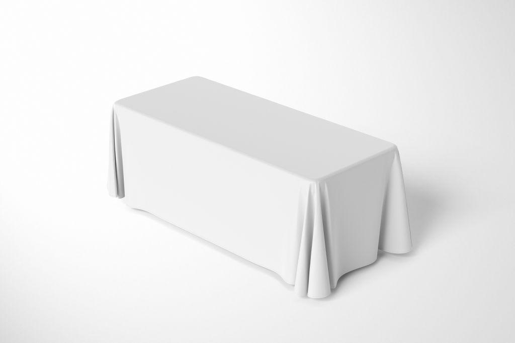 褶皱布料涤纶布餐桌桌布PSD样机贴图模版6ft Polyester Tablecloth Mockup Set