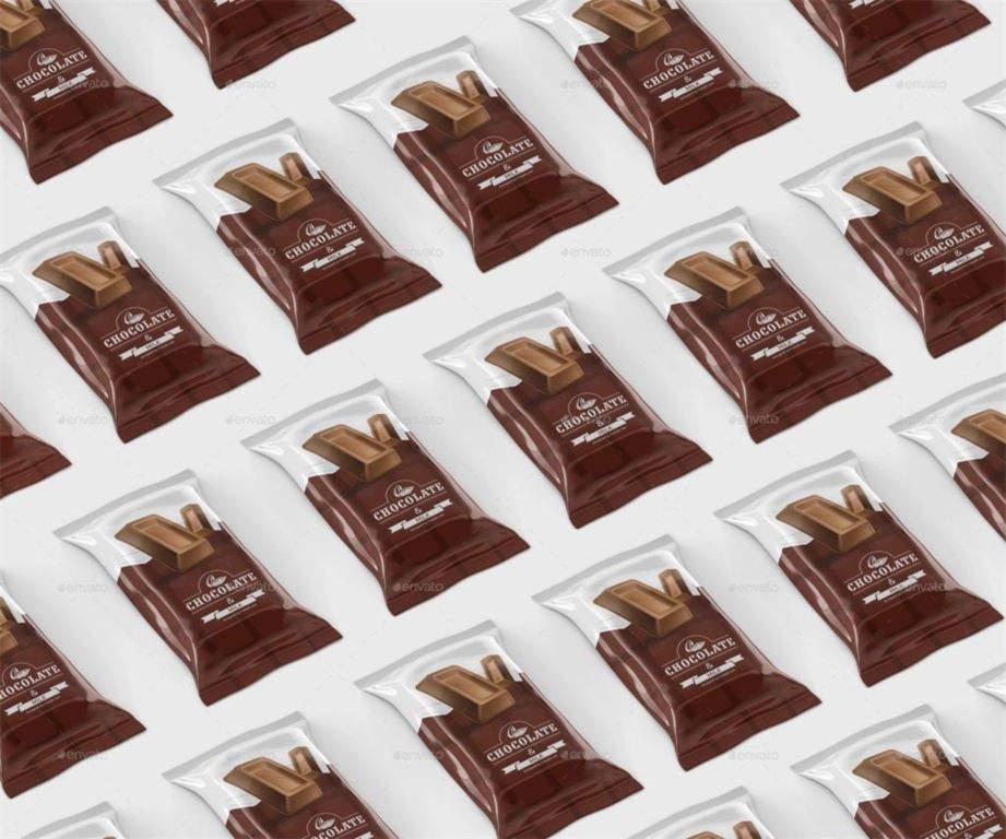 食品巧克力雪糕包装袋PSD样机贴图Chocolate Bar PSD Mockups