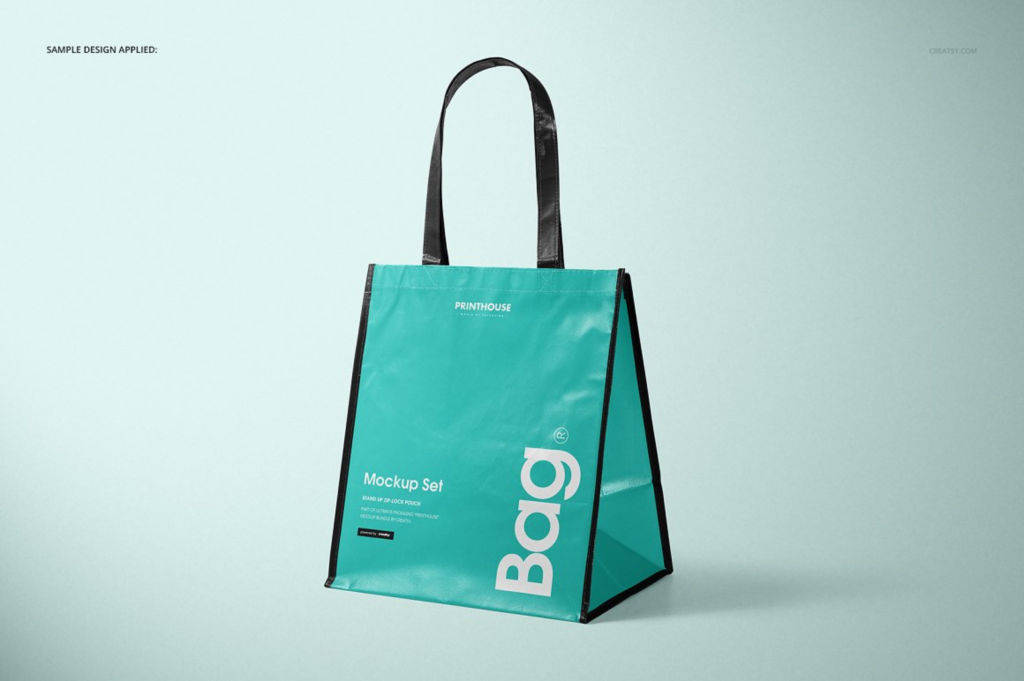 大容量竖版光滑无纺布手提袋PSD分层样机贴图Laminated Non Woven Bag 03 Mockups